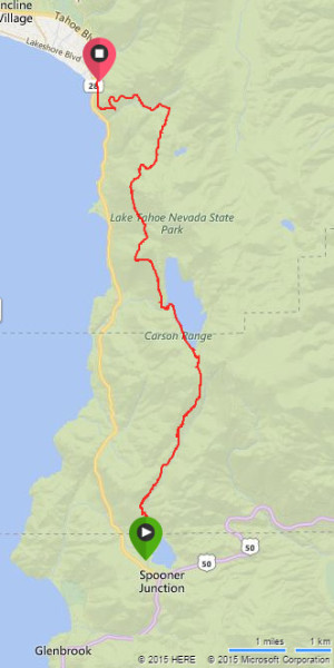 Lake Tahoe Flume Trail 1/2 Marathon Course Map
